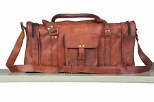 New Men's Real Brown Leather Duffle / Holdall/Gym Bag Weekend Travel Luggage