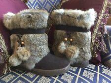 BEARPAW TAMA II EXOTIC Rabbit FUR Winter Sheepskin BOOTS Brown 7M (6-6.5M)
