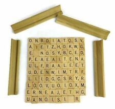Wooden Scrabble Tile Mixed Letter Lot of 99 Plus 4 Rack Holder Craft Replace