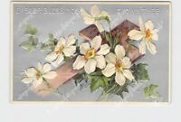 PPC POSTCARD EASTER BLESSINGS CROSS DAFFODILS IVY EMBOSSED