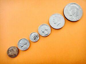 USA SET OF 6 CIRCULATED COINS VARIOUS DATES  1 5 10 25 50 Cents  $1 Dollar #3