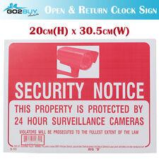 SECURITY NOTICE Camera Waterproof PVC Thick Plastic Outdoor Sign-20cmx30.5cm