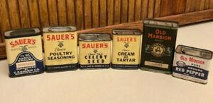 Lot of 6 vintage spice tins advertising Old Mansion Sauer, Richmond Va