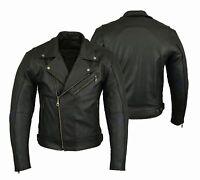 Motorrad Jacke Schwarz Biker Lederjacke Chopperjacke Echtleder Protektoren Jacke
