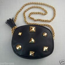 CARLA MARCHI LEATHER STUDS CHAINS SHOULDER BAG BLACK MADE IN ITALY EXCELLENT
