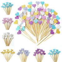 10/30/90Pcs Glitter Heart Cake Topper Cupcake Wedding Birthday Toppers Decorate