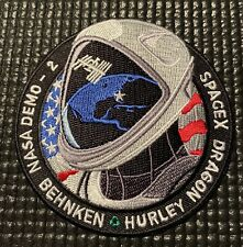 NASA DRAGON DM-2 SPACEX ISS MISSION PATCH- ASTRONAUTS HURLEY AND BEHNKEN - 3.5""