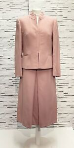 WILKEN ELEGANCE Dusty Pink Skirt Suit Wool Blend Size 12 Smart Vintage Occasion