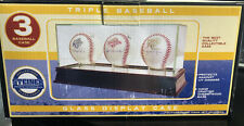 *New Triple 3 Baseball Glass Display Case MLB Steiner Cherrywood/Mirror Base UV