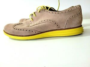 COLE HAAN Ladies LUNARGRAND Wing Grey Suede Yellow Sole Oxford Lace Up Shoe Sz 9