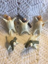 5 Vintage Adorable Tumbling Crackle Snowmen Christmas Ornaments Pre-Owned