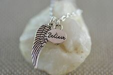 NW037 Believe Wing Necklace, Angel, Supernatural, Faith, Silver Gift