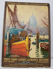 Antique Vintage French Travel Poster Rene Paris London France Chromolithograph