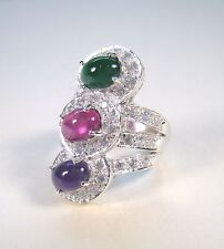 4.16 CTW EMERALD RUBY AMETHYST SAPPHIRE RING sz 7 WHITE GOLD over 925 SILVER