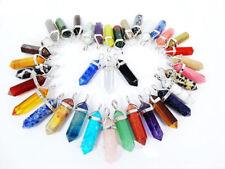 Natural Quartz Crystal Chakra Cut Gemstone Pendant Healing Point Reiki Necklace