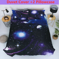 Galaxy Space Duvet Cover Set Twin Full Size 3D Starry Comforter Cover Set New