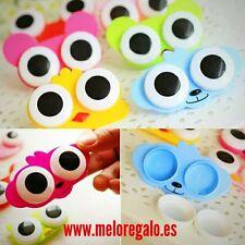 Estuche para lentillas con forma de animal (pájaro,rana,oso) con ojos desmontabl