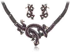 Vintage Twin Purple Crystal Lizard Reptile Pair Necklace Earring Set