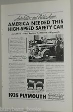 1935 Plymouth ad, High-Speed Safety Car, auto show