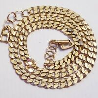 "Vintage Gold Tone FLAT SNAKE Chain Necklace 24"" Retro 80's Mens Womens 4MM Wide"