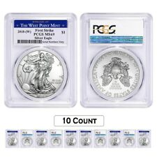 Lot of 10 - 2018 (W) 1 oz Silver American Eagle $1 Coin PCGS MS 69 FS West Point