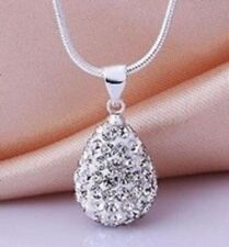 SHAMBALLA CLEAR WHITE 15mm TEARDROP PENDANT NECKLACE WITH SILVER SNAKE CHAIN-S/P