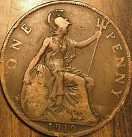 1919 UK GB GREAT BRITAIN ONE PENNY