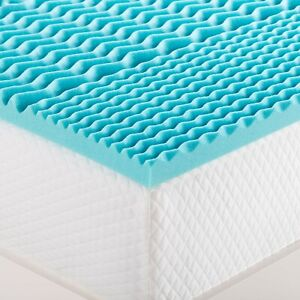 5 Zone Cool Blue Memory Foam Mattress Topper Orthopaedic Support Pain Relief
