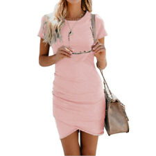 Women Bodycon Solid Color Round Collar Summer Beach Cocktail Evening Party Dress