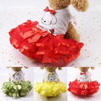 Bright Color Cute Pet Dog Cat Vest Skirt Bow Princess Tutu Dress Puppy Costumes
