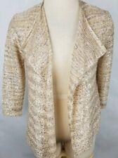 89th & Madison Medium Beige Sequin Open Front 3/4 Sleeve Cardigan Sweater
