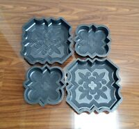 SET OF 4 CONCRETE INTERLOCKING PAVING GARDEN SLAB FLOOR TILE MOULD