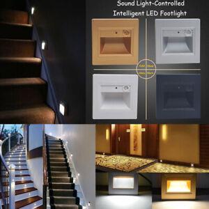 6/10PCS 0.6W Sound Light Sensor Led Ground Footlight Stair Step Lamp Night Light