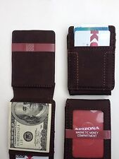 Arizona Magetic Money Compartment Front-Pocket Wallet Card Case Brown Brand New