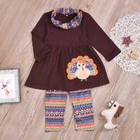 Toddler Kids Baby Girls Thanksgiving Turkey Tops Dress+ Aztec Pants Clothes Set