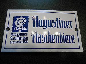 J.W. Augustiner Bräu München Emailschild Augustiner Flaschenbiere Tür Schild top
