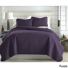 Beautiful Ultra Soft Microfiber Purple Plum Modern Chic Textured Quilt Set New!