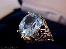 10k yellow gold Filigree 5 CT Oval cut Blue Topaz  Fantastic Ring Sz 7 NWT