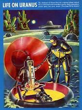 Portada de la revista Vntage vida en Urano fantásticas aventuras 1940 arte cartel CC3324