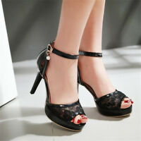 Womens Ankle Strap High Heels Peep Toe Lace Platform Fashion Sandals Party Shoes