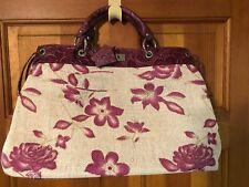 Coloris Burlap Floral Handbag With Leather Trim