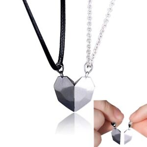 2 Couple Magnetic Necklace Lovers Distance Heart Pendant Charm - Gift Satin Bag