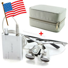 Dentist Dental Loupes 2.5x 420mm Surgical Medical LED Head Light Lamp Carry Case