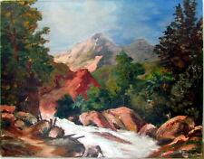 1940's Superb TWIN PEAKS Mountain Landscape Oil Painting Artist Ann Derson