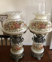 GWTW Hurricane Floral Parlor Lamp by L&L WMC 1973 Gone With The Wind 2 Lamps
