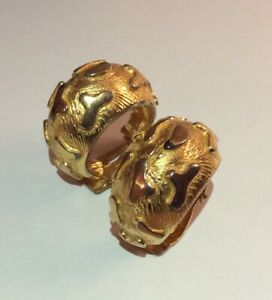 Vintage Signed Craft Gold Plate Chunky Abstract Pattern Hoop Clip On Earrings