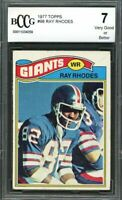 1977 topps #98 RAY RHODES new york giants rookie card BGS BCCG 7