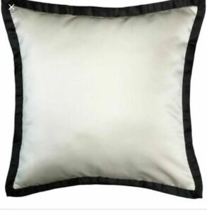 "NWT $119.98 Veratex Deville Satin Set 2 Euro Pillow Shams Ivory Black 26"" X 26"""