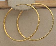 "18K Gold Filled - 1.4"" Big Hoop Geometry Concave Swirl Wave Women Earrings DS"