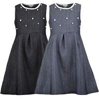 Girls Denim Dress Teenagers Skater Cotton Zip Pearl Piping Details Top 3-14 Y
